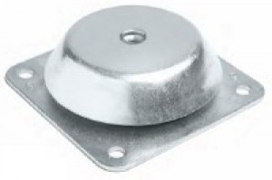 Bell-shaped anti-vibration mount with square based threaded nut