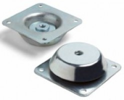 Bell-shaped anti-vibration mount with square tear-proof nut